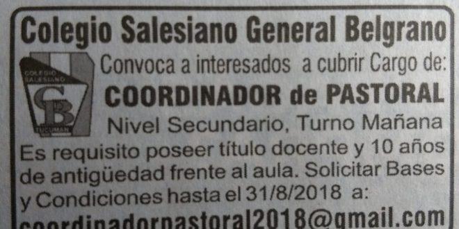Convocatoria para cubrir cargo de Coordinador de Pastoral
